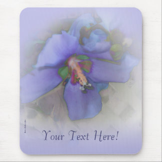 Lavender Blue Hibiscus Mouse Pads