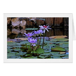 """""""LAVENDER-BLUE LOTUS BLOSSOMS AND LILY PADS"""" CARD"""