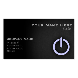Lavender Blue Power Button Business Card Template