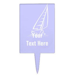 Lavender Blue Sail Boat Cake Pick