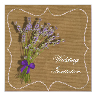 Lavender Bouquet Purple Brown Vintage Inspired Card