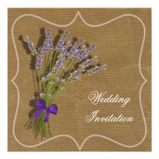 Lavender Bouquet Purple Brown Vintage Inspired Custom Invites