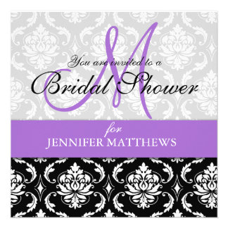 Lavender Bridal Shower Invitation Damask Monogram