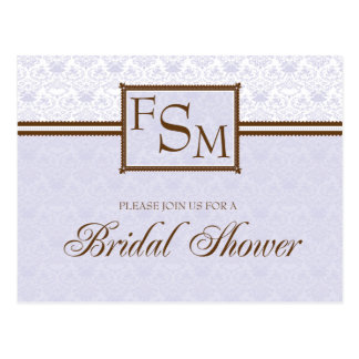 Lavender & Brown Bridal Shower Postcard