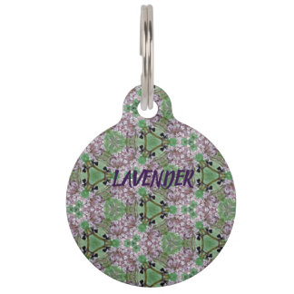 Lavender & Bumble Bee Pattern Pet ID Tag