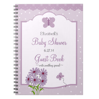 Lavender Butterfly-Baby Shower Guest Book- Notebook