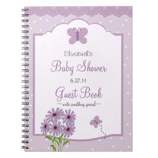 Lavender Butterfly-Baby Shower Guest Book- Spiral Notebook