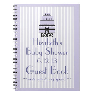 Lavender Cake-Baby Shower Guestbook Notebook