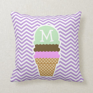 Lavender Chevron Stripes; Ice Cream Cone Cushion