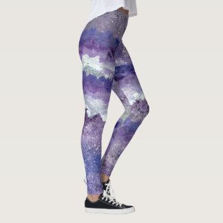 Lavender Clouds, Starry Night, Marie Stephens Art Leggings