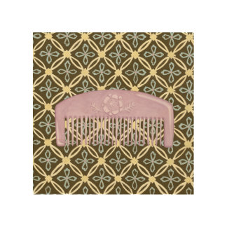 Lavender Comb on Chocolate Background Wood Print