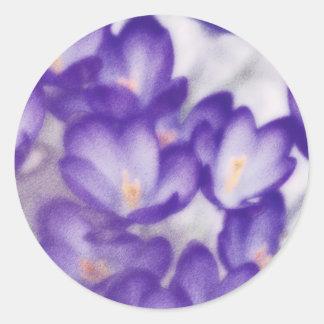 Lavender Crocus Flower Patch Classic Round Sticker