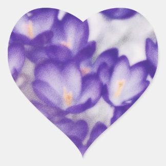 Lavender Crocus Flower Patch Heart Sticker