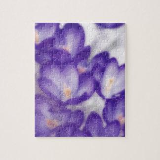 Lavender Crocus Flower Patch Jigsaw Puzzle