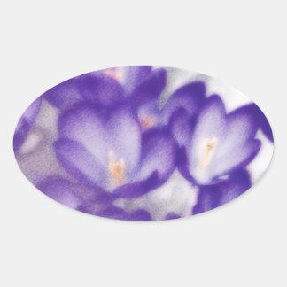 Lavender Crocus Flower Patch Oval Sticker