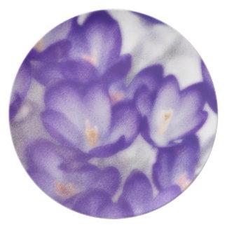 Lavender Crocus Flower Patch Plate