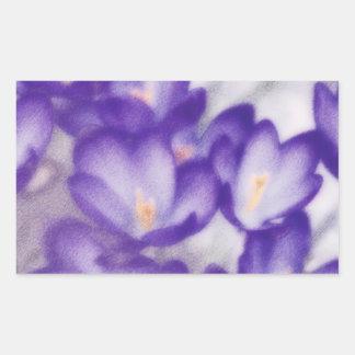 Lavender Crocus Flower Patch Rectangular Sticker