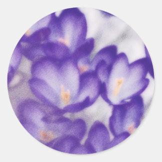 Lavender Crocus Flower Patch Round Sticker