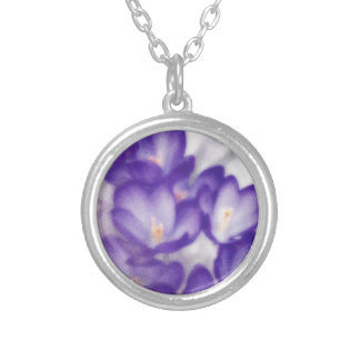 Lavender Crocus Flower Patch Silver Plated Necklace