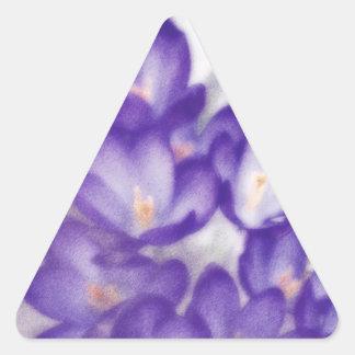 Lavender Crocus Flower Patch Triangle Sticker