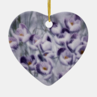 Lavender Crocus Patch Ceramic Ornament