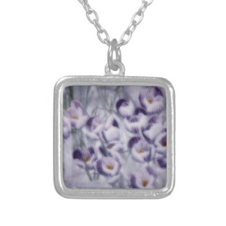 Lavender Crocus Patch Silver Plated Necklace
