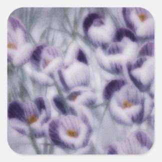 Lavender Crocus Patch Square Sticker