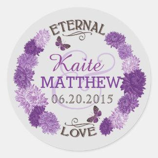 Lavender Dahlia Wreath Wedding Label Round Stickers