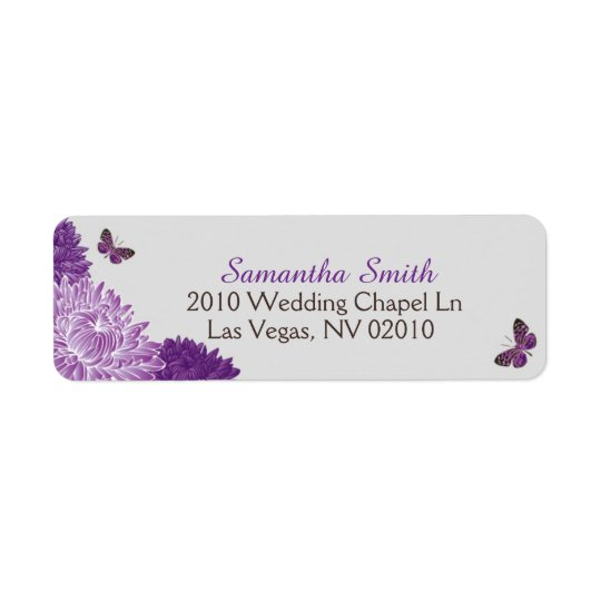 Lavender Dahlias and Butterflies Wedding Labels