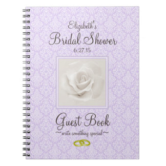 Lavender Damask and Rose Bridal Shower Guest Book