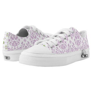Lavender Damask and Roses Printed Shoes