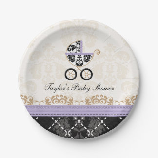 Lavender Damask Carriage Baby Shower 7 Inch Paper Plate