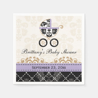 Lavender Damask Carriage Baby Shower Paper Serviettes