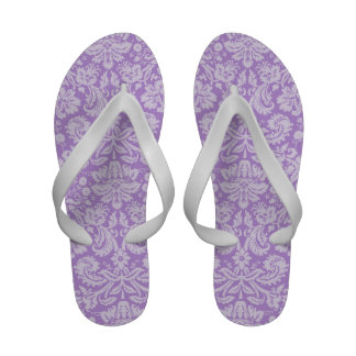 Lavender Damask Flip Flops