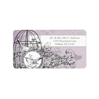 Lavender Damask Musical Vintage Bird Cage Label