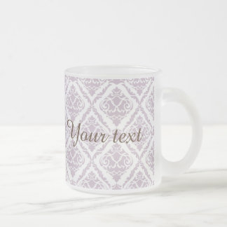 lavender ,damask, pattern,trendy,girly,cute,chic,m frosted glass mug