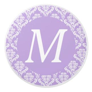 Lavender Damask White Monogram Knob