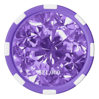 Lavender Diamond Gem Stone Poker Chip Stripe Edge