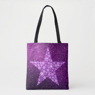 Lavender Diamond Star Purple Faux Glitter Tote Bag