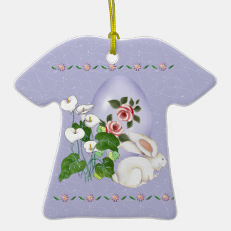 Lavender Egg and White Bunny Ornaments