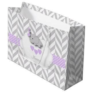 Lavender Elephant Design - Baby Boy Shower Large Gift Bag