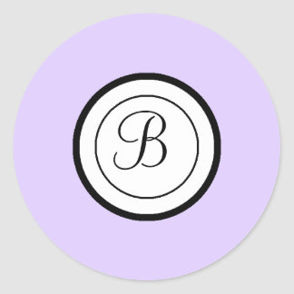 Lavender Envelope Seal Stickers Monogram B