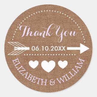Lavender & Faux Burlap Wedding Thanks Arrow Heart Round Sticker