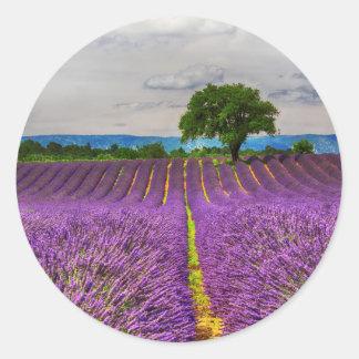 Lavender Field scenic, France Classic Round Sticker
