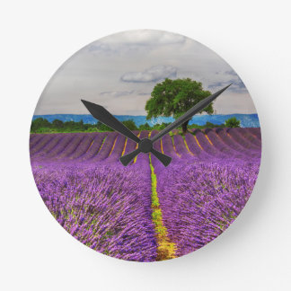 Lavender Field scenic, France Round Clock