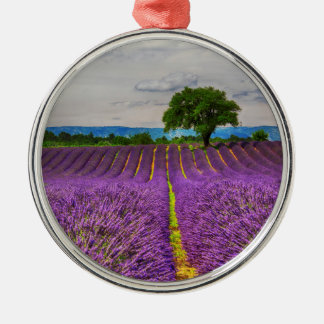 Lavender Field scenic, France Silver-Colored Round Decoration