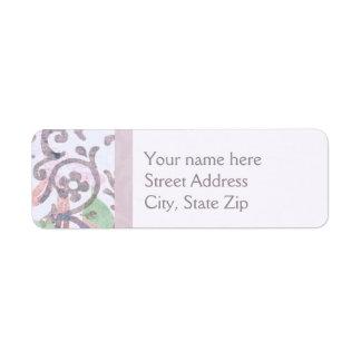 Lavender Floral Damask Return Address Label