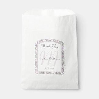 Lavender Floral Damask Wedding Favour Bag