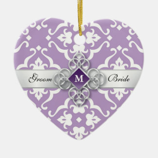Lavender Floral Damask Wedding Keepsake Ceramic Heart Decoration
