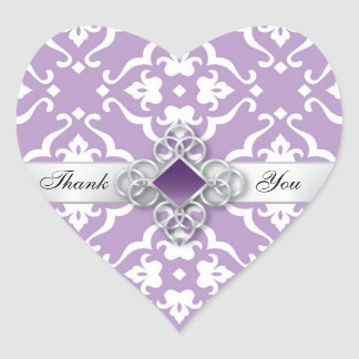 Lavender Floral Damask Wedding Thank You Heart Sticker